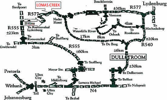 Map to Lomas Creek Country Cottages